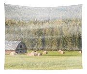 Misty Morning Haybales Tapestry