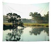 Misty Morning Pond Tapestry
