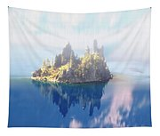 Misty Phantom Ship Island Crater Lake Tapestry