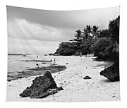 Moalboal Cebu White Sand Beach In Black And White Tapestry