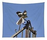 Mockingbird Landing On Fence Tapestry