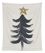 Modern Primitive Black And Gold Tree 1- Art By Linda Woods Tapestry