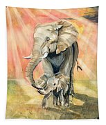 Mom And Baby Elephant Tapestry