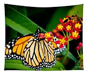 Monarch Butterfly At Lunch With 2 Box Elder Bugs Tapestry