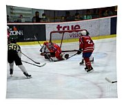 Mongolia Team Players Defend Goal Vs Malaysia In Ice Hockey Match In Rink Bangkok Thailand Tapestry