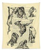 Monkeys Black And White Illustration Tapestry