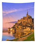 Mont Saint Michel At Sunrise Tapestry
