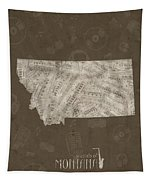 Montana Map Music Notes 3 Tapestry