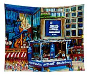 Montreal City Paintings By Streetscene Specialist Carole Spandau  Over 500 Prints Available Tapestry