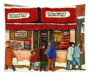 Montreal Hebrew Delicatessen Schwartzs By Montreal Streetscene Artist Carole Spandau Tapestry