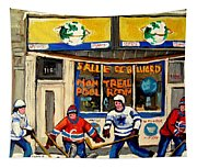 Montreal Poolroom Hockey Fans Tapestry