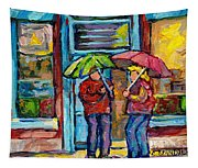 Montreal Rainy Day Paintings April Showers Umbrella Conversation At Wilensky's Deli C Spandau Quebec Tapestry