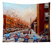 Montreal Street Hockey Game Tapestry