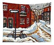 Montreal Street In Winter La Ville En Hiver Buy Montreal Paintings Petits Formats Peintures A Vendre Tapestry