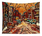 Montreal Streets In Winter Tapestry