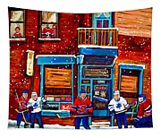 Montreal Wilensky Deli By Carole Spandau Montreal Streetscene And Hockey Artist Tapestry