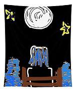 Moon And Beach Watcher On Martha's Vineyard Tapestry