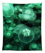Moon Jellyfish Off Alaska Tapestry by Hiroya Minakuchi