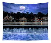 Moon Light - Boathouse Row Philadelphia Tapestry
