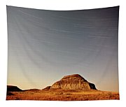 Moon Lit Castle Butte And Star Tracks In Scenic Saskatchewan Tapestry