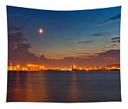 Moon Over Duluth Harbor Tapestry