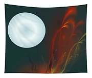 Moon Over Fire Weed Tapestry