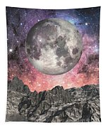 Moon Over Mountain Lake Tapestry
