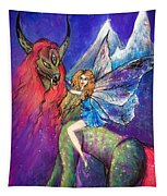 Moonlight Fairy And Her Horned Horse Tapestry