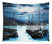 Moonlight Over Port Of Spain Tapestry