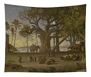 Moonlit Scene Of Indian Figures And Elephants Among Banyan Trees. Upper India Tapestry