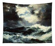 Moonlit Shipwreck At Sea Tapestry