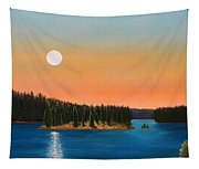Moonrise Over The Lake Tapestry