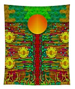 Moonshine Over The Golden Sacred Pond  Tapestry