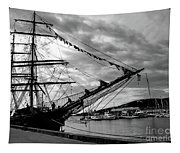 Moored At Hobart Bw Tapestry