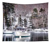 Moored Boats In Maine Winter  Tapestry