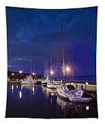 Moored Sailboats Tapestry