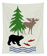 Moose And Bear Pattern Art Tapestry
