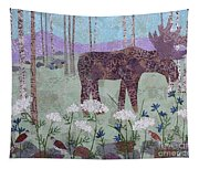 Moose And Three Sparrows Tapestry