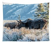 Moose In Cold Winter Ice Tapestry