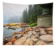 Moraine Lake And Boathouse Tapestry