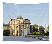 Morning At The Arc De Triomphe Du Carrousel  Tapestry