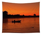 Morning Fishing On The Lake Tapestry