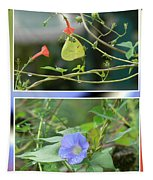 Morning Glories And Butterfly Tapestry