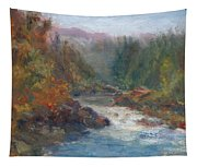 Morning Muse - Original Contemporary Impressionist River Painting Tapestry