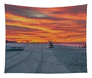 Morning Red Sky At Cape May New Jersey Tapestry