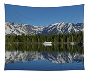 Morning Reflection Boats On Colter Bay Tapestry