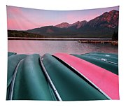 Morning View Of Pyramid Lake In Jasper National Park Tapestry