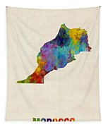 Morocco Watercolor Map Tapestry by Michael Tompsett