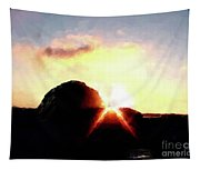 Morro Rock At Sunset Tapestry