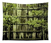 Mossy Bamboo Fence - Digital Art Tapestry